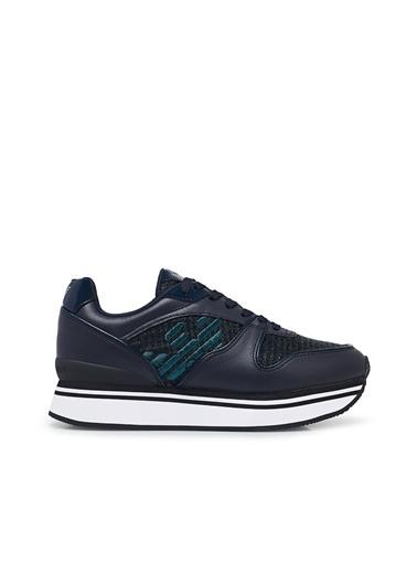 Emporio Armani X3X046 Deri Kauçuk Baskılı Bağcıklı Günlükadın Ayakkabı Lacivert